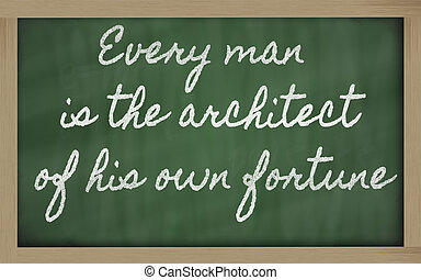 handwriting blackboard writings - Every man is the architect...