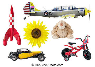 boys toys - rocket, bear, car, bike, airplane, sunflower