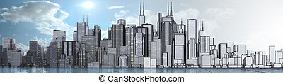 skyline - a skyline of a big imaginated city