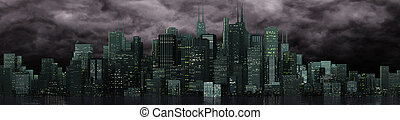 skyline - a skyline of a big imaginated city