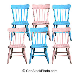 old blue and pink chairs
