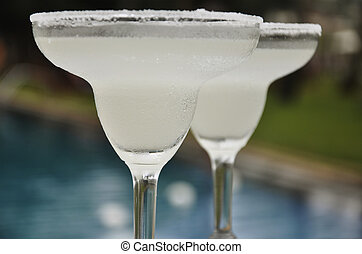 Lime Margaritas - Two Lime Margaritas on the Poolside