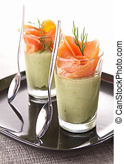 appetizer, avocado and smoked salmon