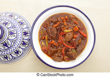 Moroccan beef tagine from above - A moroccan beef tagine...