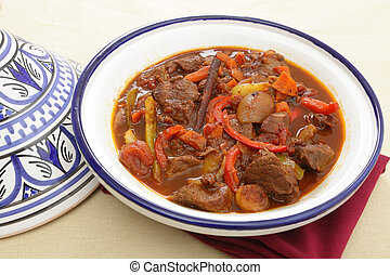 Moroccan beef tagine - A moroccan beef tagine served in the...