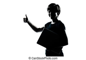 one caucasian young teenager silhouette boy girl holding...