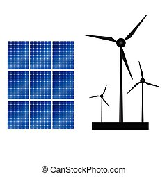 solar panel and windmills for energy vector illustration
