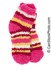 Bright striped baby terry socks isolated on white background