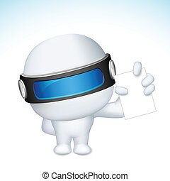 3d Business Man in vector showing Blank Card - illustration...