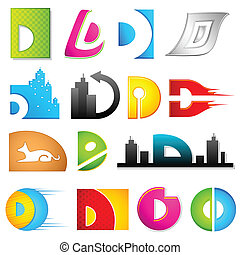 Different Icon with alphabet D - illustration of set of...