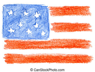 American flag, pencil drawing