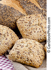 multigrain roll and poppy seed bread - home made multigrain...