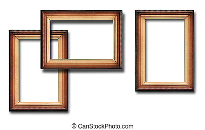 Wooden frames with shadow on white background