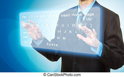 Virtual Keyboard - Hands pushing a button on a touch screen....