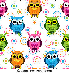 Seamless owl pattern - Seamless pattern of cute and fun...
