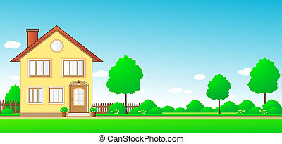landscape with cottage and space fo - nature landscape with...