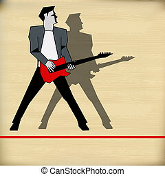 Retro Guitar Gig Guide - Retro Background illustration for a...