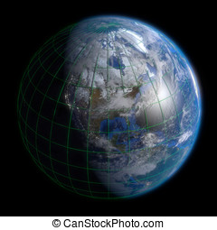 Earth Globe North America - Clouds and Lines