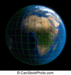 Earth Globe Africa - Latitude and Longitude. 3d Render using...