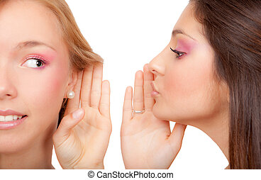 whispering - young women or teens whispering secrets scandal...