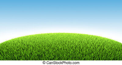 Grassland - Field of fresh green grass, 3d render