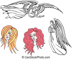 Angels and girls. Vector set