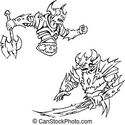 Armed monsters. Black and white vector illustration