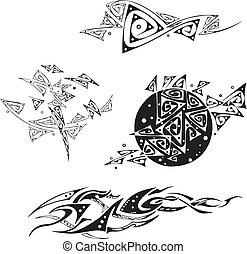 decorativo, triángulo, Patrones