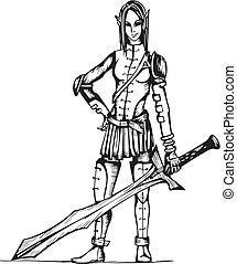 Dangerous Elf Girl Warrior. Black and white vector...