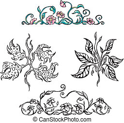 Floral ornamental patterns. Vector set