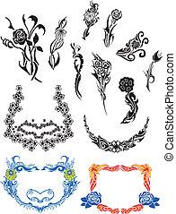 Flower Art Nouveau Patterns. Vector Set