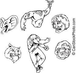 Vectort set of mascot templates