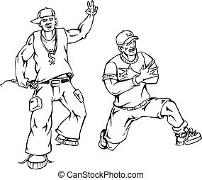 Rappers. Black and white vector illustration