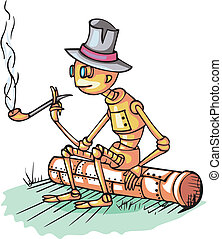 Robot sits on pipe and smokes. Cartoon. Color vactor...