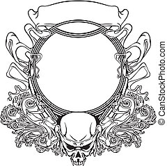 Frame with skull in Art Nouveau style. Black and whie vector...