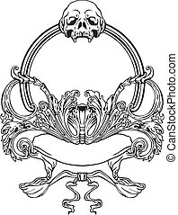 Frame with skull in Art Nouveau style