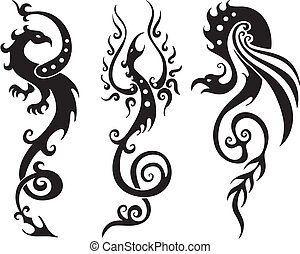 Stylized Dragons. Vector Set