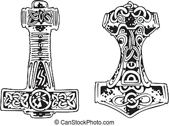 Thor's hammers. Vector set