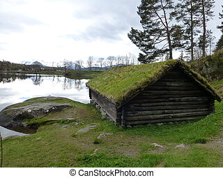 Boat-house - Old boat-house at Sunnmoere Museum, Aalesund,...