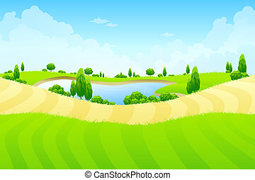 Green landscape with lake trees and fields