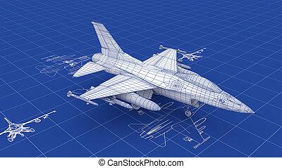 Jet Fighter Aircraft Blueprint. Part of a series.