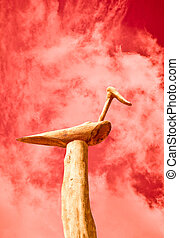 The Abstract of wooden duck isolated on sky background
