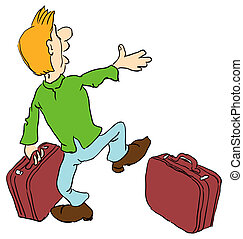 Tourist with two suitcases Vector illustration Cartoon
