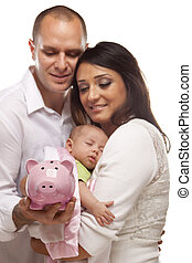 Young Mixed Race Parents with Baby Holding Piggy Bank -...