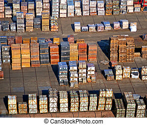 Cargo ready to be shipped seen from above