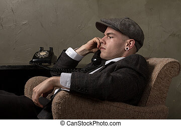 retro vintage business man - characterization of a 1940's...