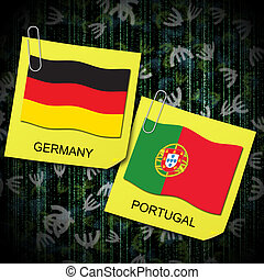euro 2012 group b soccer ball and flag germany and portugal