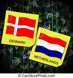 euro 2012 group b soccer ball and flag netherlands and...