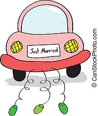 Hand drawing illustration of just married on car driving...