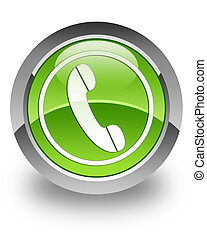 Phone glossy icon - Phone icon on glossy green round button